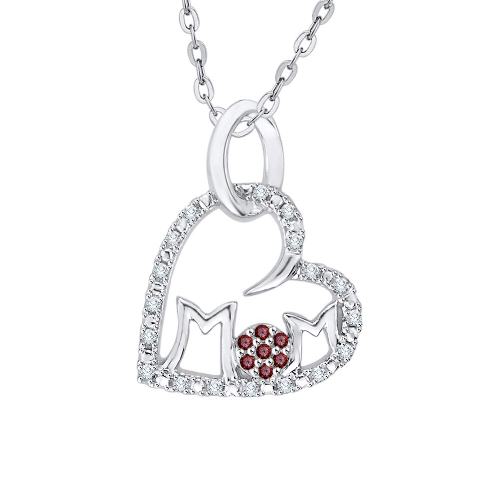1//10 cttw, G-H, I2-I3 KATARINA Diamond and Gemstone Cluster HeartMOM Pendant Necklace in Sterling Silver