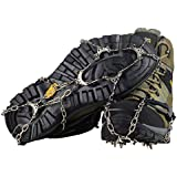 YUEDGE 10 Teeth Universal Anti Slip Ice Cleats Shoe Boot Grips Traction Crampon Snow Spikes Grips Cleats