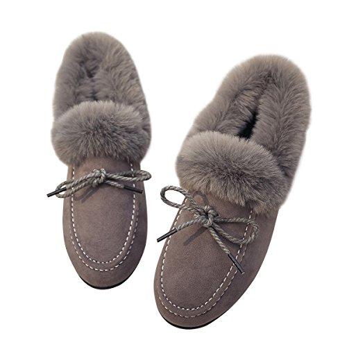 Sldv7 Dames Faux Bontkraag Mocassin Zachte Outdoor Slipper Instappers Loafers Grijs