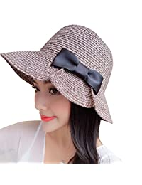 Baiyu Ladies Brimmed Straw Sun Hat Adjustabe Bowknot Cap Floppy Trilby Casual Summer Beach Sun Visor for Women (Khaki / Red / Black / Coffee)