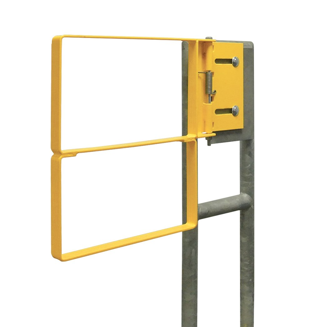 Fabenco RX70-24PCR RX-Series Standard Bolt-On Extended Coverage Industrial Safety Gate with Right-Hand Swing, 25 to 27.5-Inch, A36 Carbon Steel with Safety Yellow Powder Coat