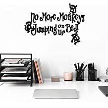 bileso quotes wall stickers Removable Vinyl Art Decal Funny monkey No More Monkeys Jumpin' on the Bed!