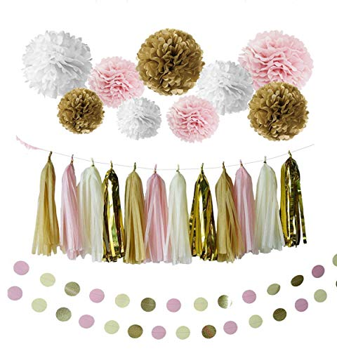 28 pcs Party Decorations Kit with Tissue Paper Pom Poms Tissue Paper Flowers Polka Dot Garland Glitter Tassel Garland Circle Garland Paper Craft Supplies for Party (White/Glitter Gold/Pink)]()