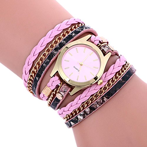 Qisc Rhinestone Bracelet Watch, Women Bohemian Style Multilayer Leather Analog Quartz Wrist Watch Gift For Girls (Pink)