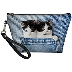 HUGS IDEA Cute Cat Print Makeup Pouch Travel Cosmetic Bag Brush Toiletry Organizer with Handle