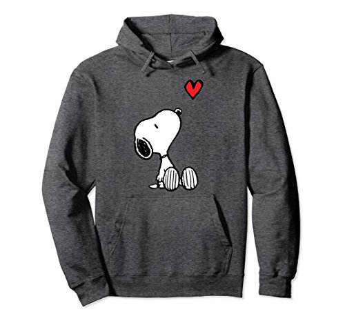 Unisex Peanuts Heart Sitting Snoopy Hoodie Large Dark Heather -
