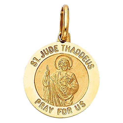 14k Yellow Gold Religious Saint Jude Thaddeus Medal Pendant Charm - 2 Sizes Available