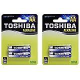 #9: Toshiba Blue Line AA Alkaline 1.5V Batteries (4 Batteries)