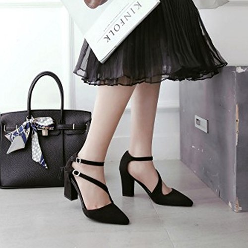 COOLCEPT Mujer Moda Correa de Tobillo Sandalias Tacon Ancho Cerrado Zapatos Black
