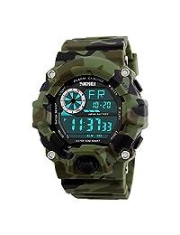 Chicos Relojes camuflaje militar deportivo Digital resistente al agua cronómetro alarma reloj de pulsera multifunción LED Relojes para hombre Boys diseño de camuflaje, color verde