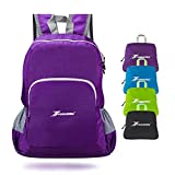 YOULERBU Foldable Backpack Compact Lightweight, Small Packable Daypack 30L Waterproof for Outdoor Travel Camping for Men and Women Purple