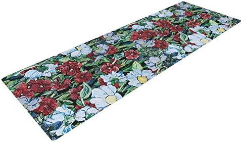 KESS InHouse DLKG Design Giardino Yoga Exercise Mat 72 x 24-Inch Garden Flowers