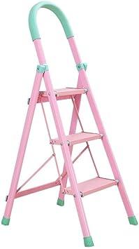 Escalera de acero 3 peldaños - Escalera de mano portátil plegable con barandilla de seguridad - Escalera plegable for el hogar: Amazon.es: Bricolaje y herramientas