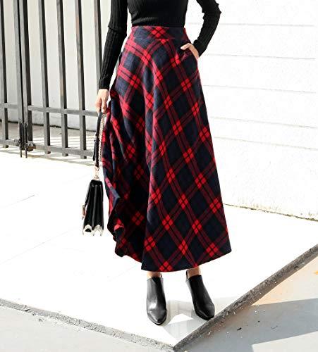 Jupe de Longue lastique plisse ray Rouge Chaud Jupes Automne Taille Taille Ligne Carreaux Haute Hiver lgant Laine Femme A qXta44