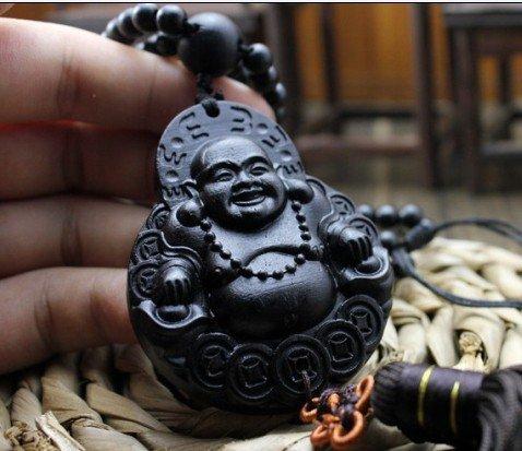 Pureaqu Luxury Handicraft Wood Key Chains Car Mirror Ornaments Good Luck Safety Car Interior Decoration Happy Buddha Statue Souvenir Gift Wood Carved Figurines Craft Supplies 1PCS