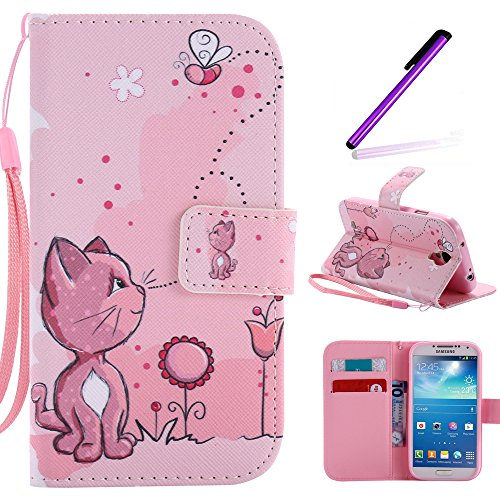 S4 Case,Galaxy i9500 Case LEECOCO Fancy Paint Floral Design Case [Credit Cards Slot] [Cash Pockets] PU Leather Flip Wallet Case with Stand for Samsung Galaxy S4 I9500,Pink Cat