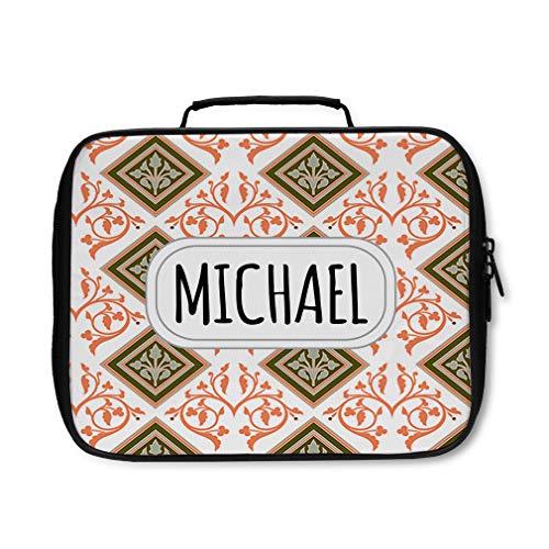 Nylon Insulated Lunch Box Custom Scroll 6 Pattern Orange Grey adults Food Bag