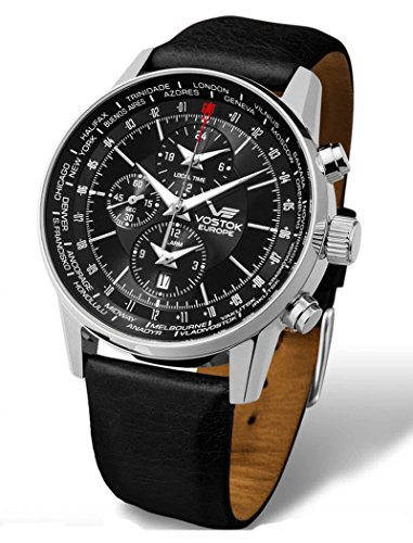 Vostok-Europe - Gaz Limo World Timer Alarm Black Leather Watch - YM26/560A254