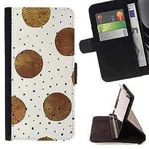 For Samsung Galaxy J1 J100 Case , Marrón Negro Modelo de lunar beige- la tarjeta de Crédito Slots PU Funda de cuero Monedero caso cubierta de piel
