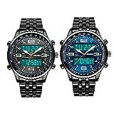 Gets Men's Luminous LED Analog Digital Date Week Sports Outdoor Steel Dial Wrist Watch Waterproof