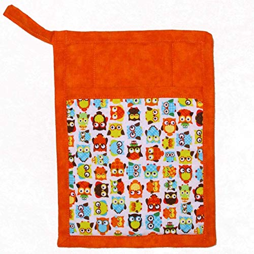 1 Pocket Pot Holder With Hanging Loop - Colorful Orange & Turquoise Owls With Orange Batik Accent Fabric]()