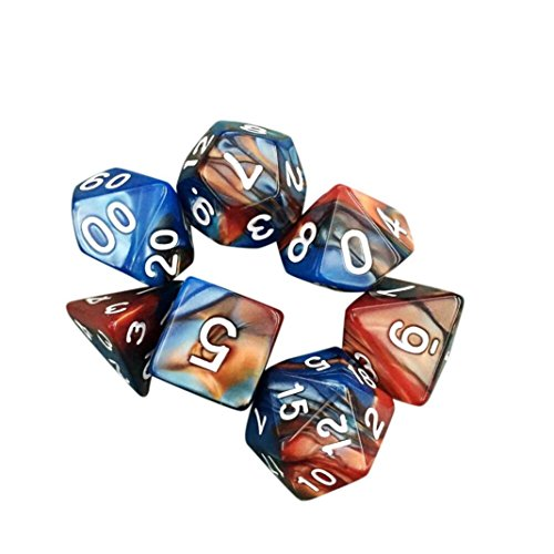 - E-SCENERY 7pcs/Set Multi Sided Acrylic Dice Series Complete set for Dungeons and Dragons DND D&D MTG RPG Card Games (Gold)