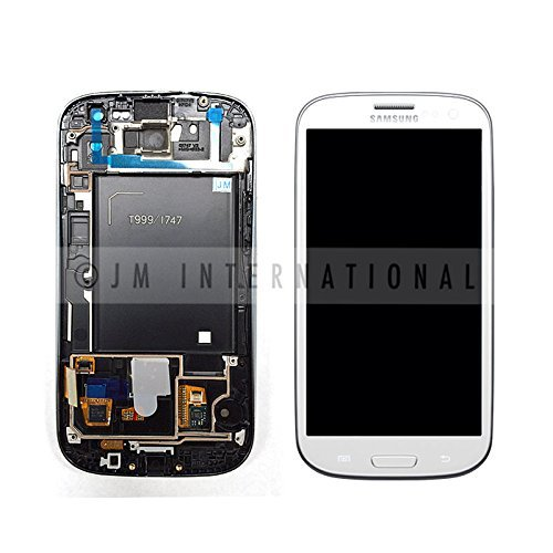Generic Original AT&T Galaxy S3 I747 LCD & Touch Screen Digitizer WHITE Genuine Samsung SGH-I747 Galaxy S3 Replacement Top Glass Touch Panel, AMOLED OLED Display Screen, Lower Front Navigation Keypad and LCD Back (Genuine Lcd)