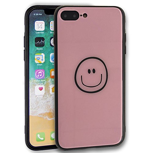 se,iPhone 7 Plus Case,Foebesz 9H Tempered Glass Back Cover [Scratch-Resistant] + Soft Silicone Bumper [Shock Absorption] for iPhone 8 Plus/7 Plus (Pink Smiley face) ()