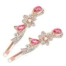 Osye Women's Crystal Hair Clips Barrettes Pins Bridal Decor, Butterfly Flower Knot