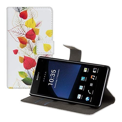 kwmobile® Chic leather case for the Sony Xperia Z1 Compact with convenient stand function - Tree design (White Green etc.)!