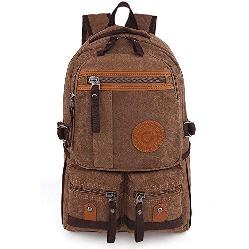 Gendi Vintage Casual Daily Backpack Leinwand BAG Student Schultasche Retro Tasche mit Reißverschluss Wandern Rucksack Reisen Rucksack o.ä braun 96PUAB