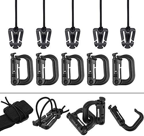 AXEAX 10 Stück Molle-D-Ring Grimloc-Verriegelung, Taktische Gear Clip Molle Web Dominator für MOLLE-Gurtband Rucksackgurte Management mit Reißverschlusstasche