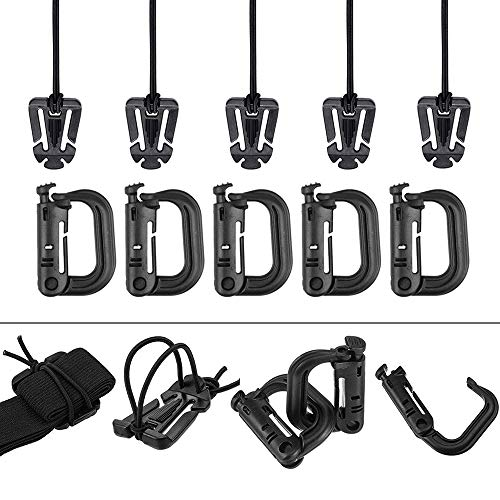- AXEAX Pack of 10 Molle D-Ring Grimloc Locking, Tactical Gear Clip Molle Web Dominators for MOLLE Webbing Backpack Straps Management with Zippered Pouch
