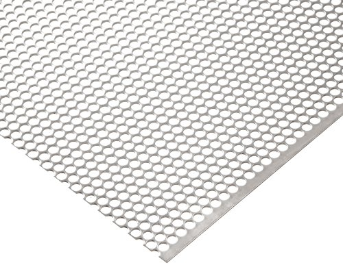 304 Stainless Steel Perforated Sheet, Unpolished (Mill) Finish, Staggered Holes, 0.075