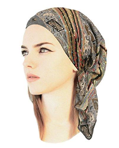 ShariRose Gray Boho Chic Pre-Tied Head-Scarf Headwear Cool Knit Pashmina Ethnic Print Collection! (Grey Black Beige Short - 424)