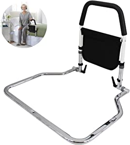 JeKaVis Foldable Bed Rails for Elderly Adults, Adjustable Height Bed Rail Assist, Safety Bed Rail with Storage Pocket