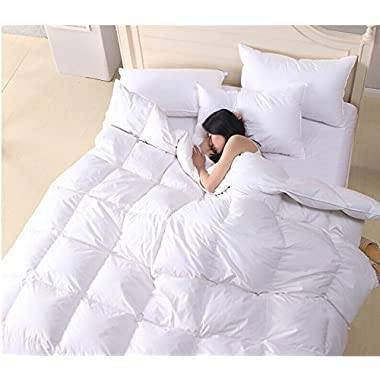 Quality White 75% Goose Down and 25% Goose Feather 2-4 cm Thicken Winter Keep warm Comforter Quilt Duvet Insert 100% 233 TC Cotton Protector CAL King Size 108 x 94 inch ,700+ Filling Power