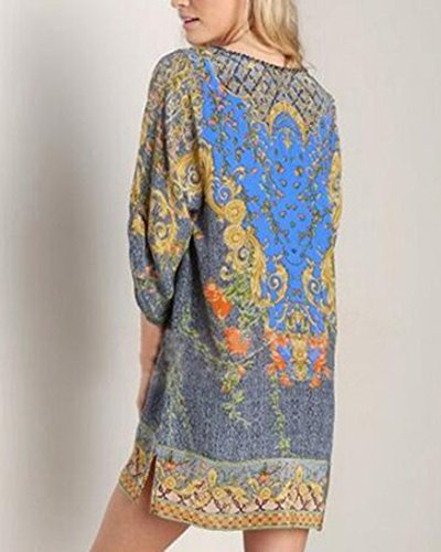 Ethnique Style Robe Robe Vintage Bohme Cravate Mini Gris Imprim ShiFan Femmes Cou w8SZ40