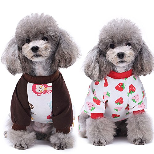 HongYH 2-pack Dog Dogs Onesie Dog Pajamas Cotton Rompers Pet Cozy Bodysuits and