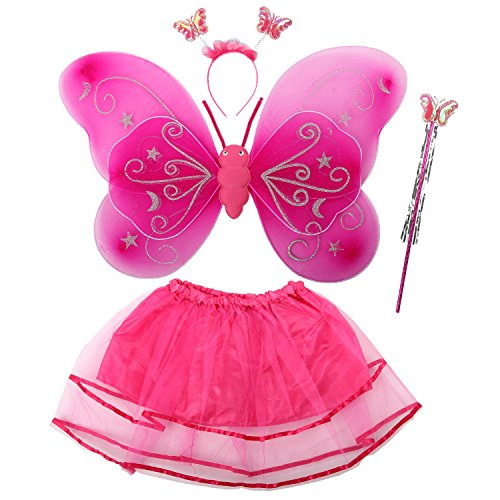 [Acediscoball Girls' Butterfly Wings Fairy Dress up Costume Tutu Dress Headband Rose red] (Wood Fairy Costumes)