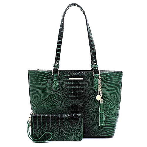 Croco Alligator Embossed Patent Faux Leather 2pcs Set Classy Shopper Handbags with Matching Wallet (GREEN)