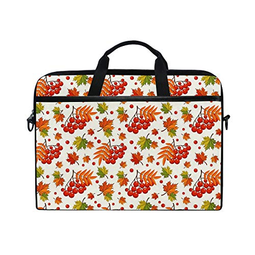 Anmarco Autumn Pattern with Rowan Berries Laptop Shoulder Messenger Bag Case Sleeve for 14 Inch to 15.4 inch - 15.4 Berry Inch