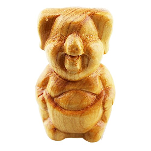 FOY-MALL Mini Hand Pieces Thuja Sutchuenensis Wood Carved Chinese Zodiac Statue Pig S1018