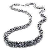 Novel Unique Men 8mm Silver Byzantine Stainless Steel Necklace 16-40' (16)