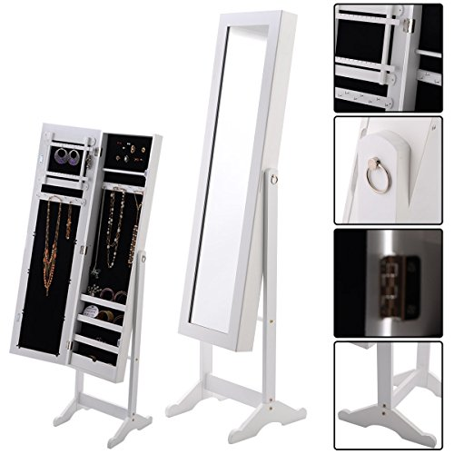 Goplus Schmuckschrank Standspiegel Spiegelschrank Schmuckkasten Schmuck 33 x 37 x 142cm (Weiss) -