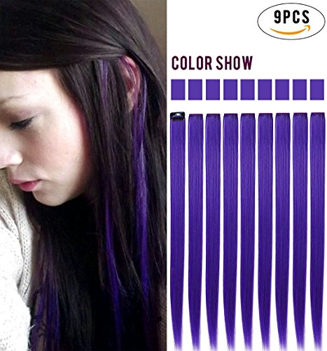 Rhyme Purple Colored Clip In/On Hair Extensions 20