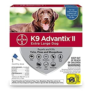 Bayer K9 Advantix II Flea, Tick & Mosquito Prevention for Extra-Large Dogs, Over 55 lb, 1 dose 9