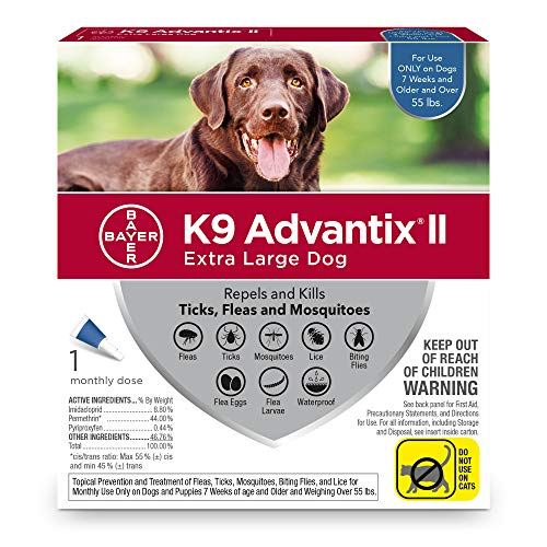 Bayer K9 Advantix II Flea, Tick & Mosquito Prevention for Extra-Large Dogs, Over 55 lb, 1 dose