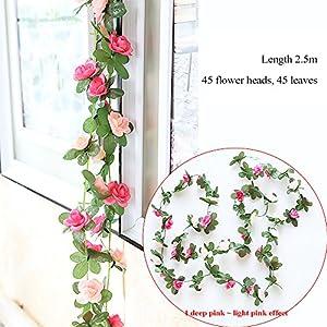 GerTong 1PCS Artificial Silk Rose Flower Ivy Vine Fake Hanging Plantss Leaves Garland for Wedding Party Garden Home Hotel Office Craft Art Decor Wall Valentine Decoration (Light Pink) 2