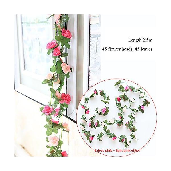 GerTong-1PCS-Artificial-Silk-Rose-Flower-Ivy-Vine-Fake-Hanging-Plantss-Leaves-Garland-for-Wedding-Party-Garden-Home-Hotel-Office-Craft-Art-Decor-Wall-Valentine-Decoration-Light-Pink